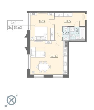2-комнатная квартира №3 в: ЖК NEOPARK: 57.6 м²; этаж: 7 - купить в Санкт-Петербурге