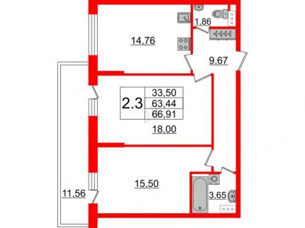2-комнатная квартира №66 в: Притяжение: 63.44 м²; этаж: 2 - купить в Санкт-Петербурге