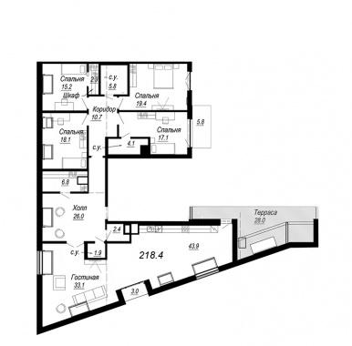 5-комнатная квартира №27 в: Meltzer Hall: 218.4 м²; этаж: 8 - купить в Санкт-Петербурге