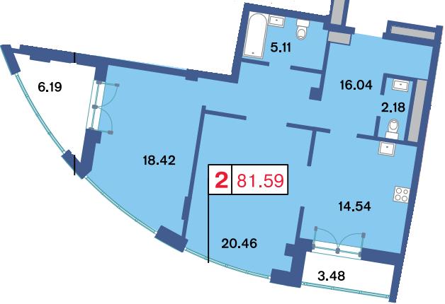 2-комнатная квартира, 76.4 м²; этаж: 2 - купить в Санкт-Петербурге