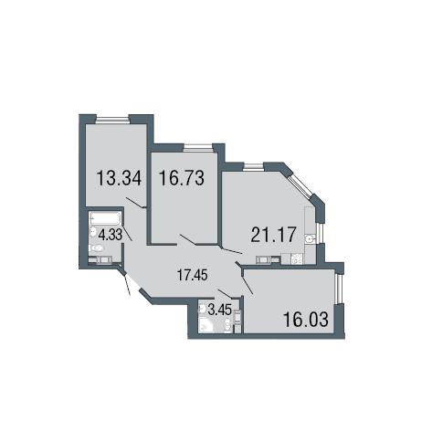 3-комнатная квартира, 93.3 м²; этаж: 2 - купить в Санкт-Петербурге
