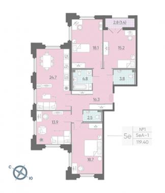 4-комнатная квартира №42 в: Цивилизация на Неве: 119.9 м²; этаж: 2 - купить в Санкт-Петербурге