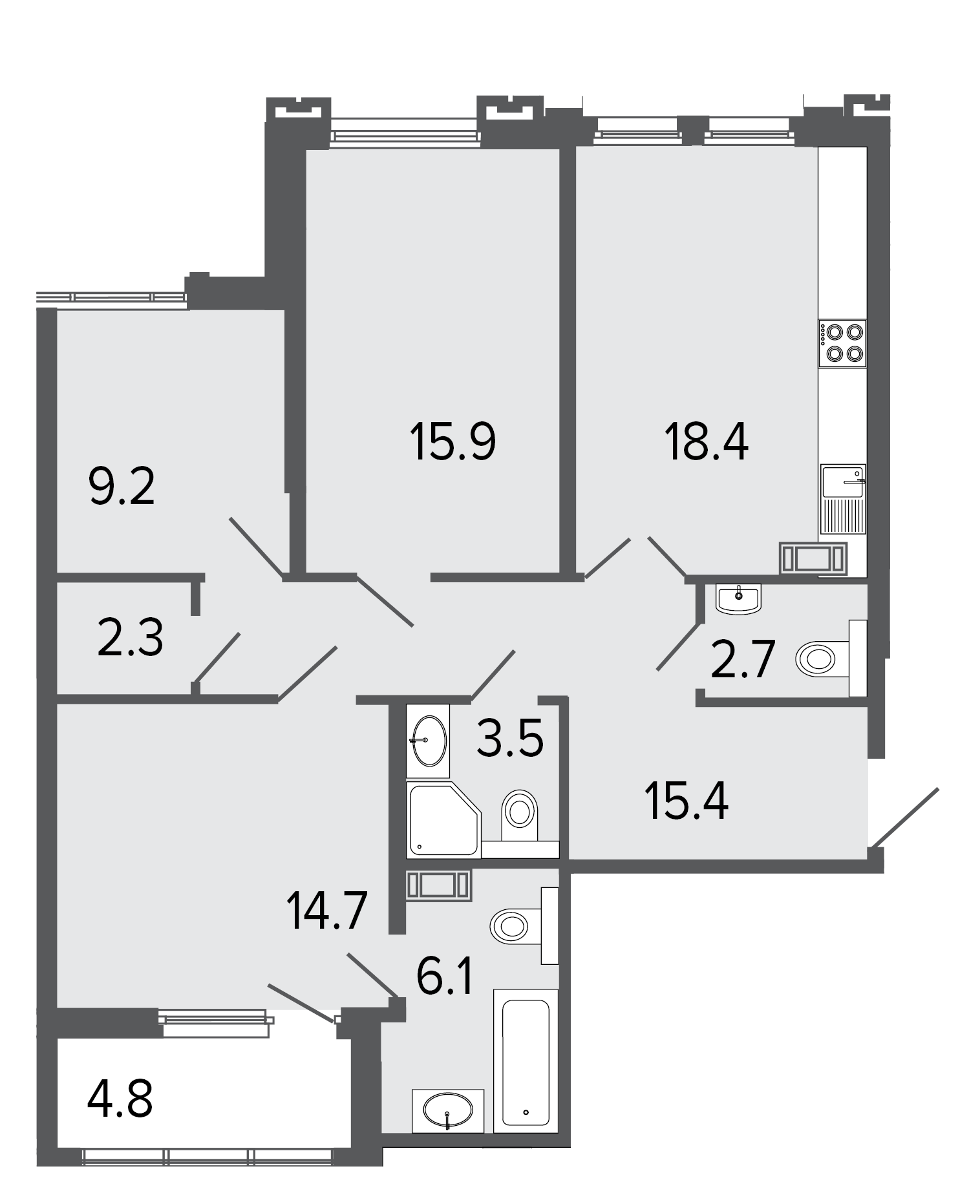 3-комнатная квартира, 88.2 м²; этаж: 8 - купить в Санкт-Петербурге