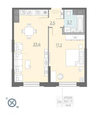 1-комнатная квартира №42 в: Цивилизация на Неве: 46.8 м²; этаж: 3 - купить в Санкт-Петербурге