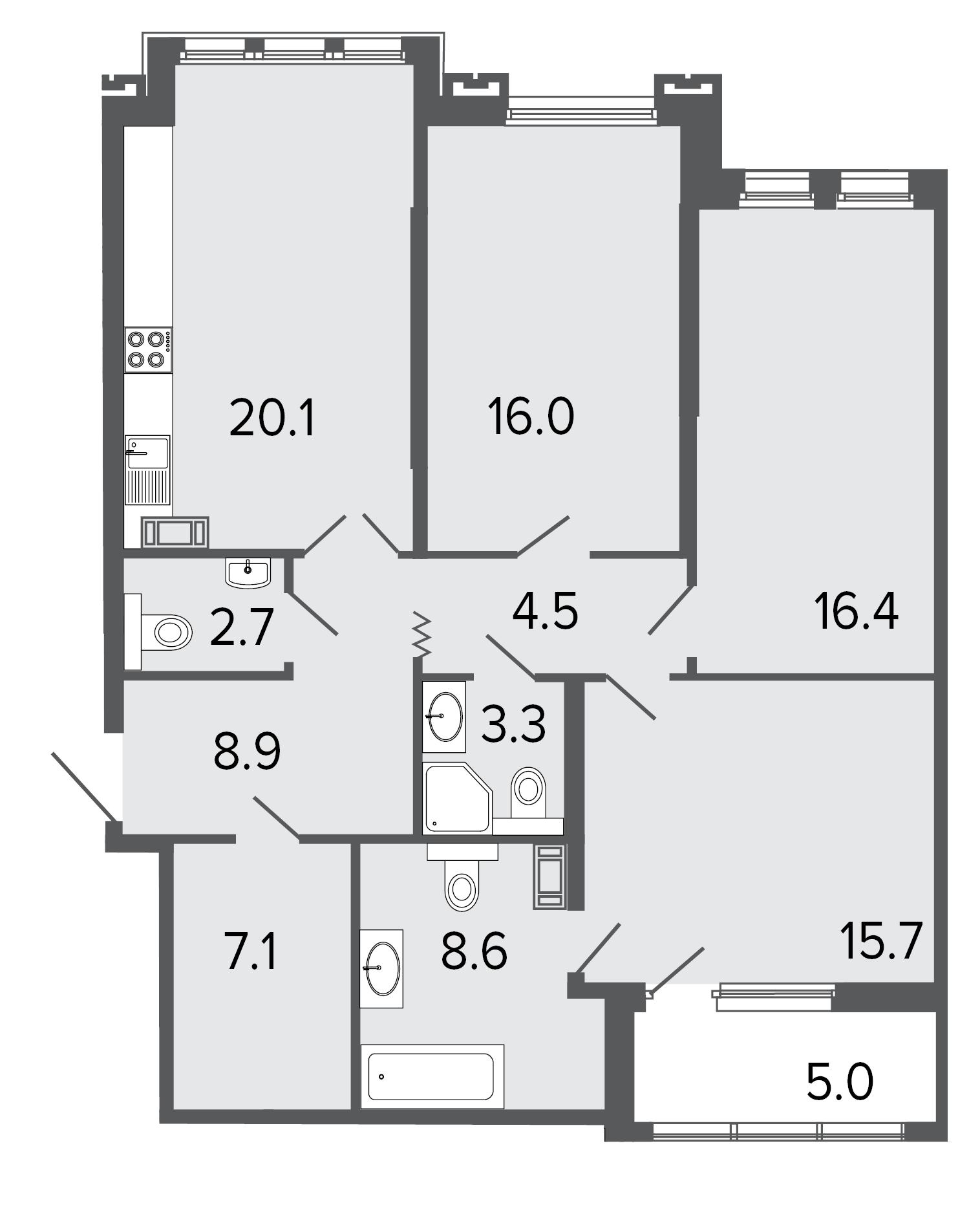 3-комнатная квартира, 103.3 м²; этаж: 6 - купить в Санкт-Петербурге