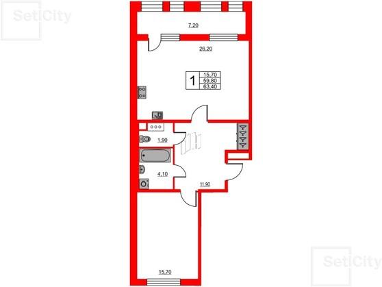 4-комнатная квартира №3 в: Светлана парк: 97.1 м²; этаж: 3 - купить в Санкт-Петербурге