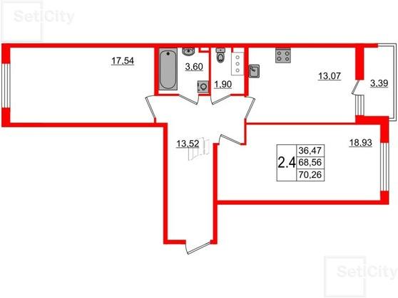 2-комнатная квартира, 69 м²; этаж: 5 - купить в Санкт-Петербурге