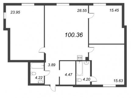 3-комнатная квартира, 100.36 м²; этаж: 3 - купить в Санкт-Петербурге