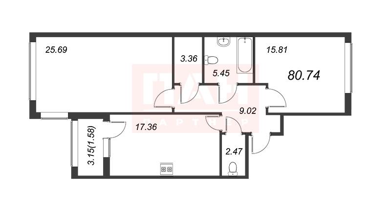 2-комнатная квартира №20, лит. С в: ЖК Фамилия: 80.74 м²; этаж: 2 - купить в Санкт-Петербурге
