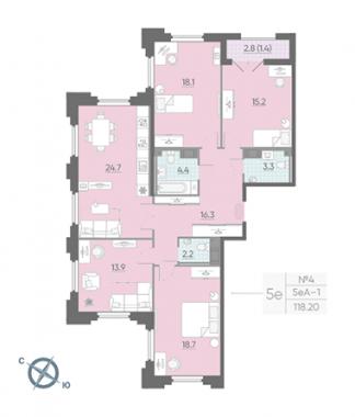 4-комнатная квартира №42 в: Цивилизация на Неве: 118.2 м²; этаж: 3 - купить в Санкт-Петербурге