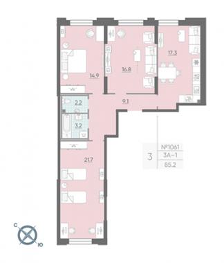 3-комнатная квартира №42 в: Цивилизация на Неве: 85.2 м²; этаж: 2 - купить в Санкт-Петербурге