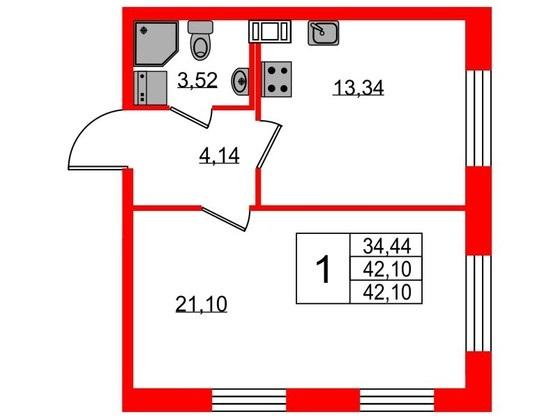2-комнатная квартира №3 в: ЖК NEOPARK: 42.1 м²; этаж: 7 - купить в Санкт-Петербурге