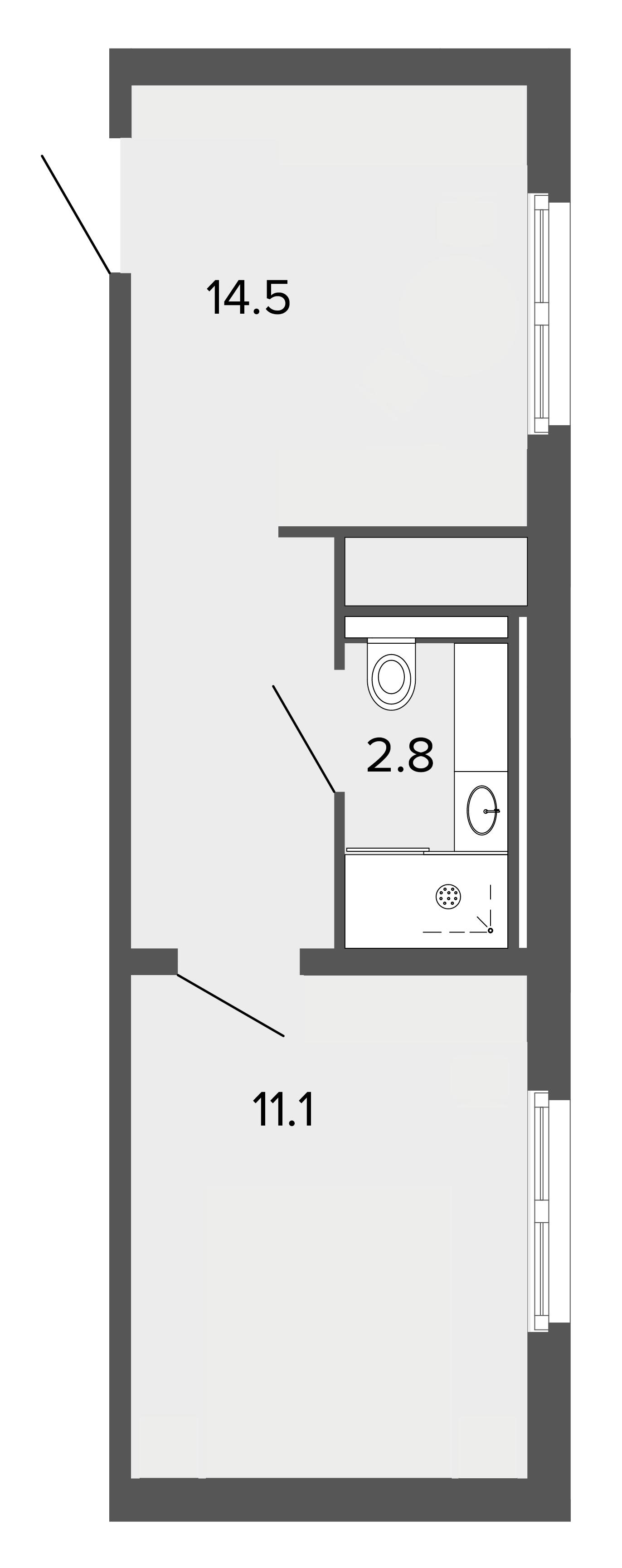 1-комнатная квартира, 28.2 м²; этаж: 2 - купить в Санкт-Петербурге