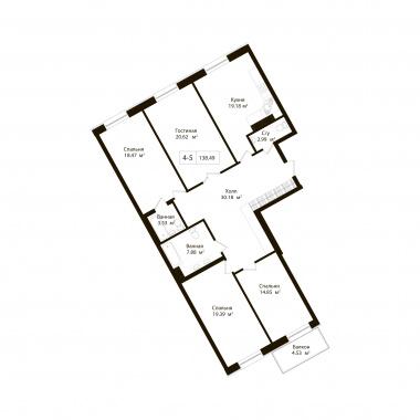 4-комнатная квартира, 137.13 м²; этаж: 6 - купить в Санкт-Петербурге