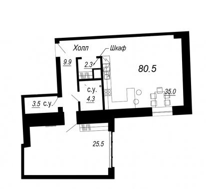 1-комнатная квартира  №19-3 в Meltzer Hall : 80.5 м², этаж 3 - купить в Санкт-Петербурге