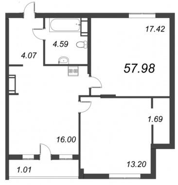 2-комнатная квартира №72 в: ID Moskovskiy: 57.98 м²; этаж: 10 - купить в Санкт-Петербурге