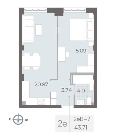 1-комнатная квартира №17А в: Neva Residence: 43.71 м²; этаж: 3 - купить в Санкт-Петербурге