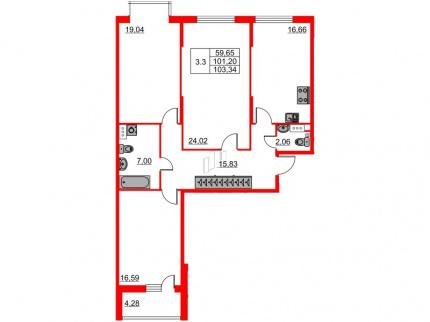 3-комнатная квартира №66 в: Притяжение: 101.2 м²; этаж: 6 - купить в Санкт-Петербурге