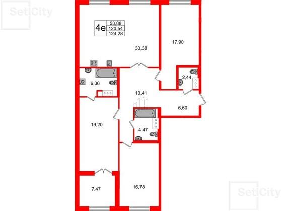 3-комнатная квартира, 120.54 м²; этаж: 4 - купить в Санкт-Петербурге
