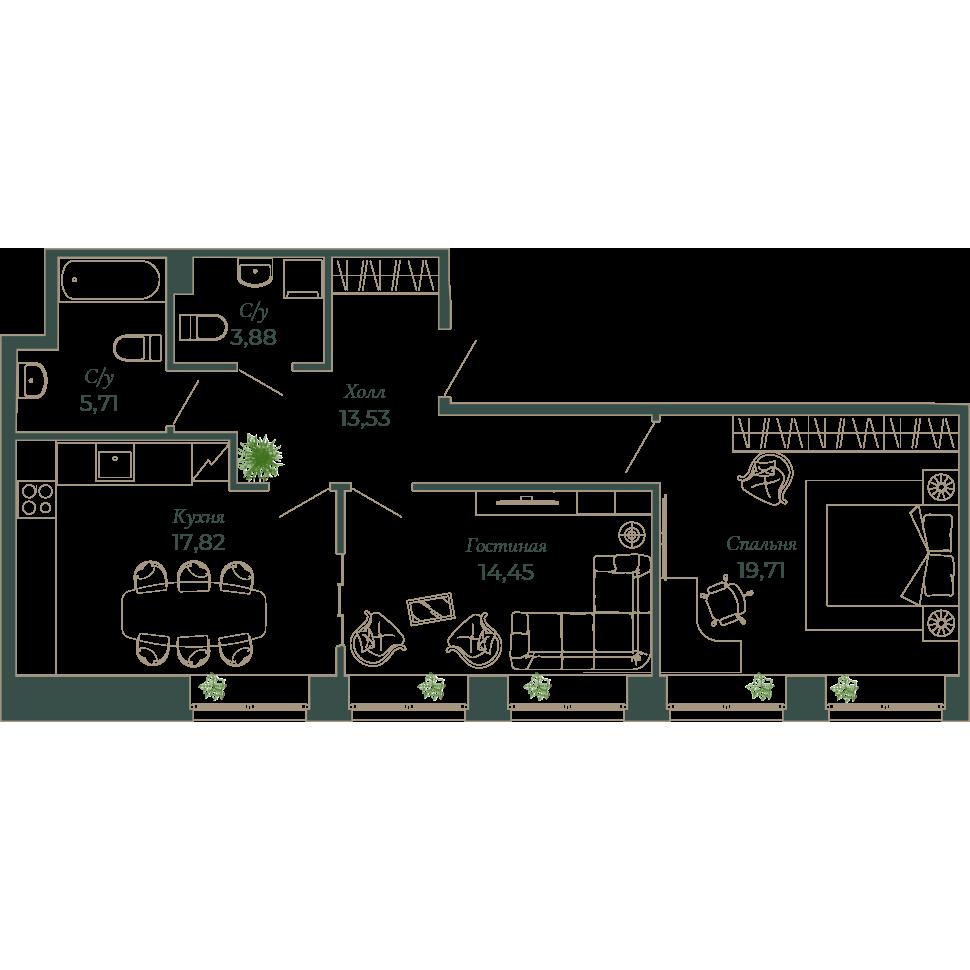 2-комнатная квартира, 74.7 м²; этаж: 6 - купить в Санкт-Петербурге