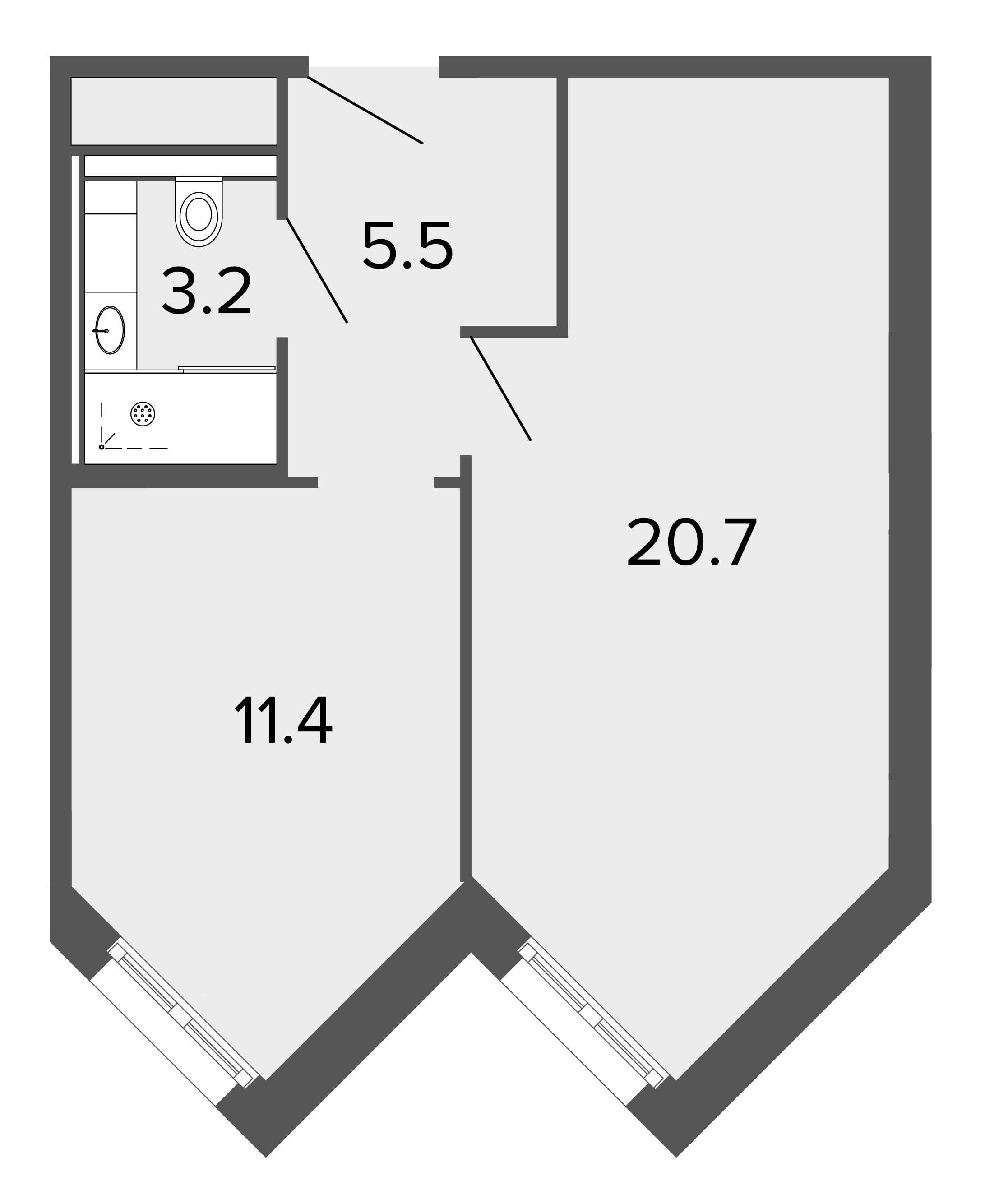 1-комнатная квартира, 41.2 м²; этаж: 8 - купить в Санкт-Петербурге