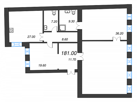 3-комнатная квартира №41 в: Три грации: 181 м²; этаж: 2 - купить в Санкт-Петербурге