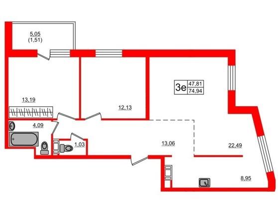 3-комнатная квартира, 76.1 м²; этаж: 16 - купить в Санкт-Петербурге
