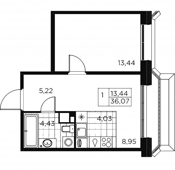 1-комнатная квартира, 36.07 м²; этаж: 9 - купить в Санкт-Петербурге