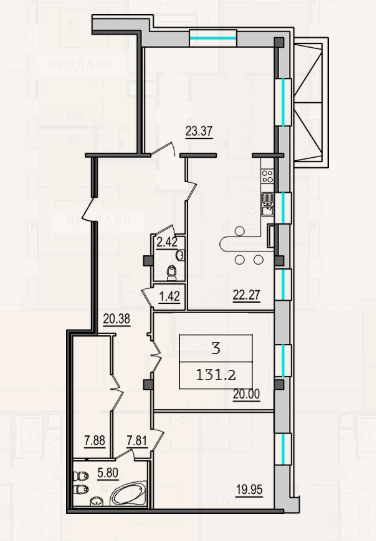 3-комнатная квартира №9 в: 4-я Советская, 9: 131.2 м²; этаж: 2 - купить в Санкт-Петербурге
