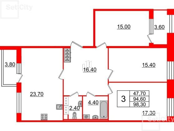 3-комнатная квартира №3 в: Светлана парк: 94.6 м²; этаж: 5 - купить в Санкт-Петербурге