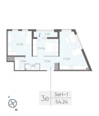 2-комнатная квартира, 54.24 м²; этаж: 4 - купить в Санкт-Петербурге
