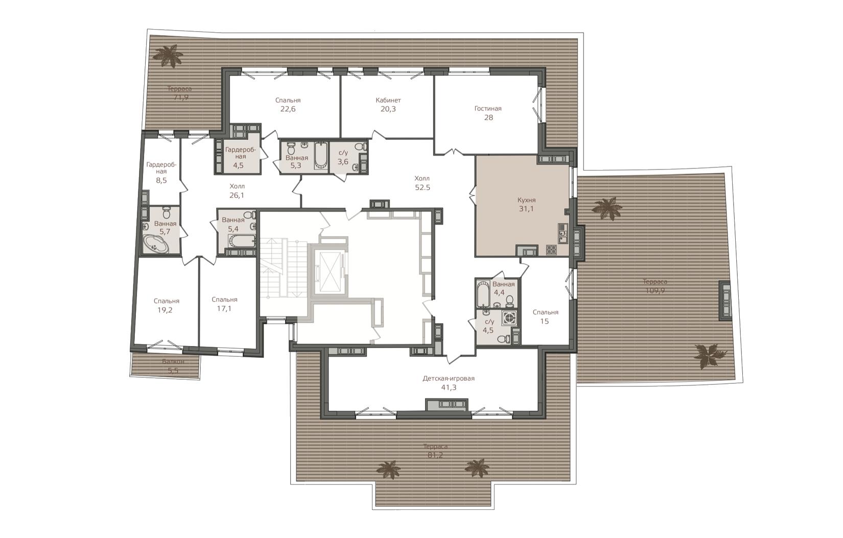 7-комнатная квартира, 396.8 м²; этаж: 8 - купить в Санкт-Петербурге