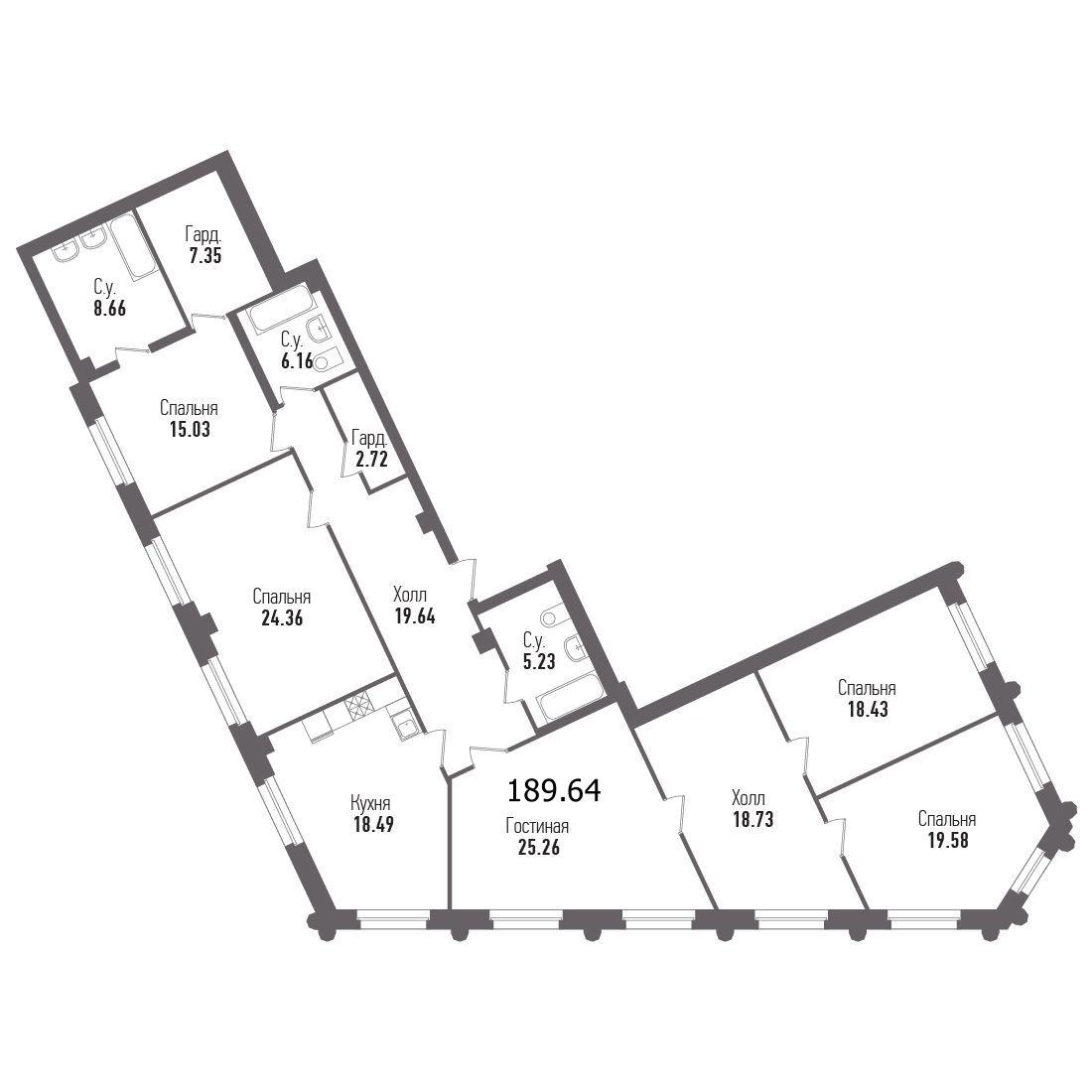 5-комнатная квартира, 196 м²; этаж: 1 - купить в Санкт-Петербурге