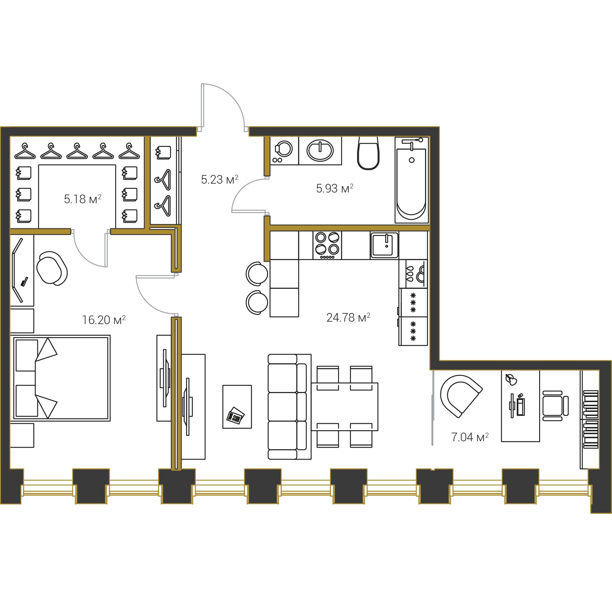 1-комнатная квартира №16 в: Институтский,16: 64.37 м²; этаж: 3 - купить в Санкт-Петербурге