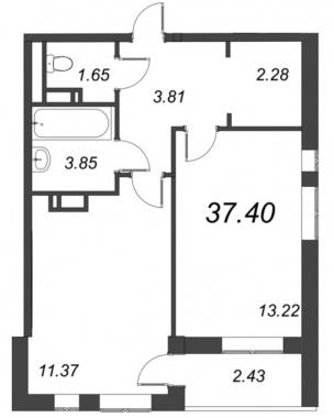 1-комнатная квартира, 37.4 м²; этаж: 5 - купить в Санкт-Петербурге