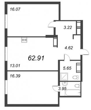 2-комнатная квартира, 62.91 м²; этаж: 9 - купить в Санкт-Петербурге