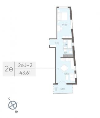1-комнатная квартира, 43.61 м²; этаж: 12 - купить в Санкт-Петербурге