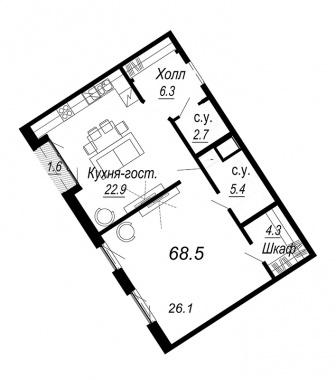1-комнатная квартира №27 в: Meltzer Hall: 68.5 м²; этаж: 5 - купить в Санкт-Петербурге