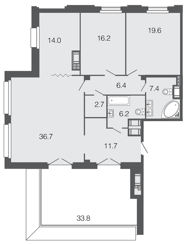 3-комнатная квартира, 120.9 м²; этаж: 9 - купить в Санкт-Петербурге
