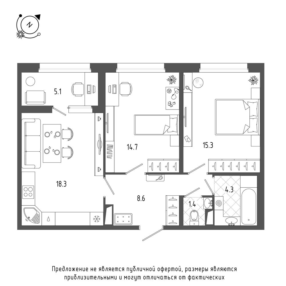 2-комнатная квартира, 65.2 м²; этаж: 5 - купить в Санкт-Петербурге