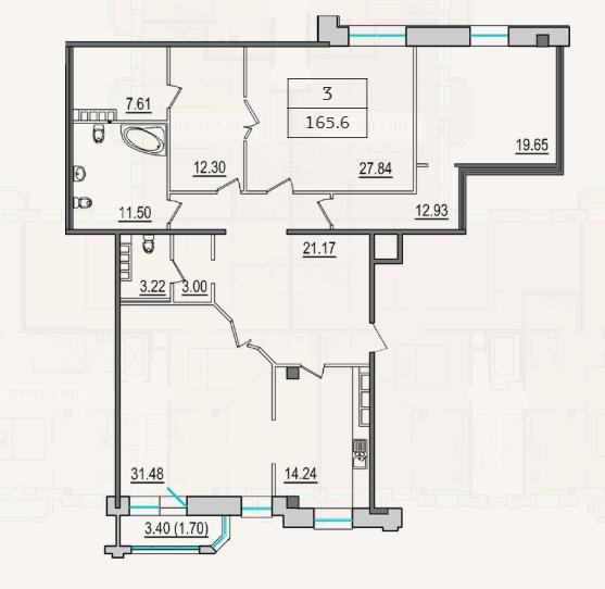 3-комнатная квартира №9 в: 4-я Советская, 9: 164.6 м²; этаж: 5 - купить в Санкт-Петербурге