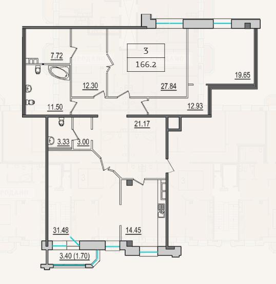 3-комнатная квартира №9 в: 4-я Советская, 9: 165.3 м²; этаж: 4 - купить в Санкт-Петербурге