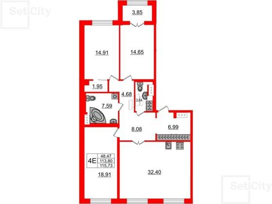 3-комнатная квартира, 114.1 м²; этаж: 2 - купить в Санкт-Петербурге