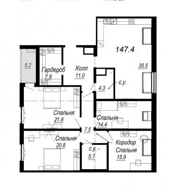 4-комнатная квартира, 147.4 м²; этаж: 8 - купить в Санкт-Петербурге