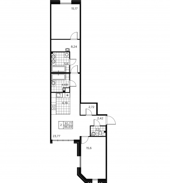2-комнатная квартира, 86.69 м²; этаж: 2 - купить в Санкт-Петербурге