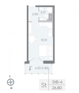 1-комнатная квартира №17А в: Neva Residence: 26.8 м²; этаж: 6 - купить в Санкт-Петербурге