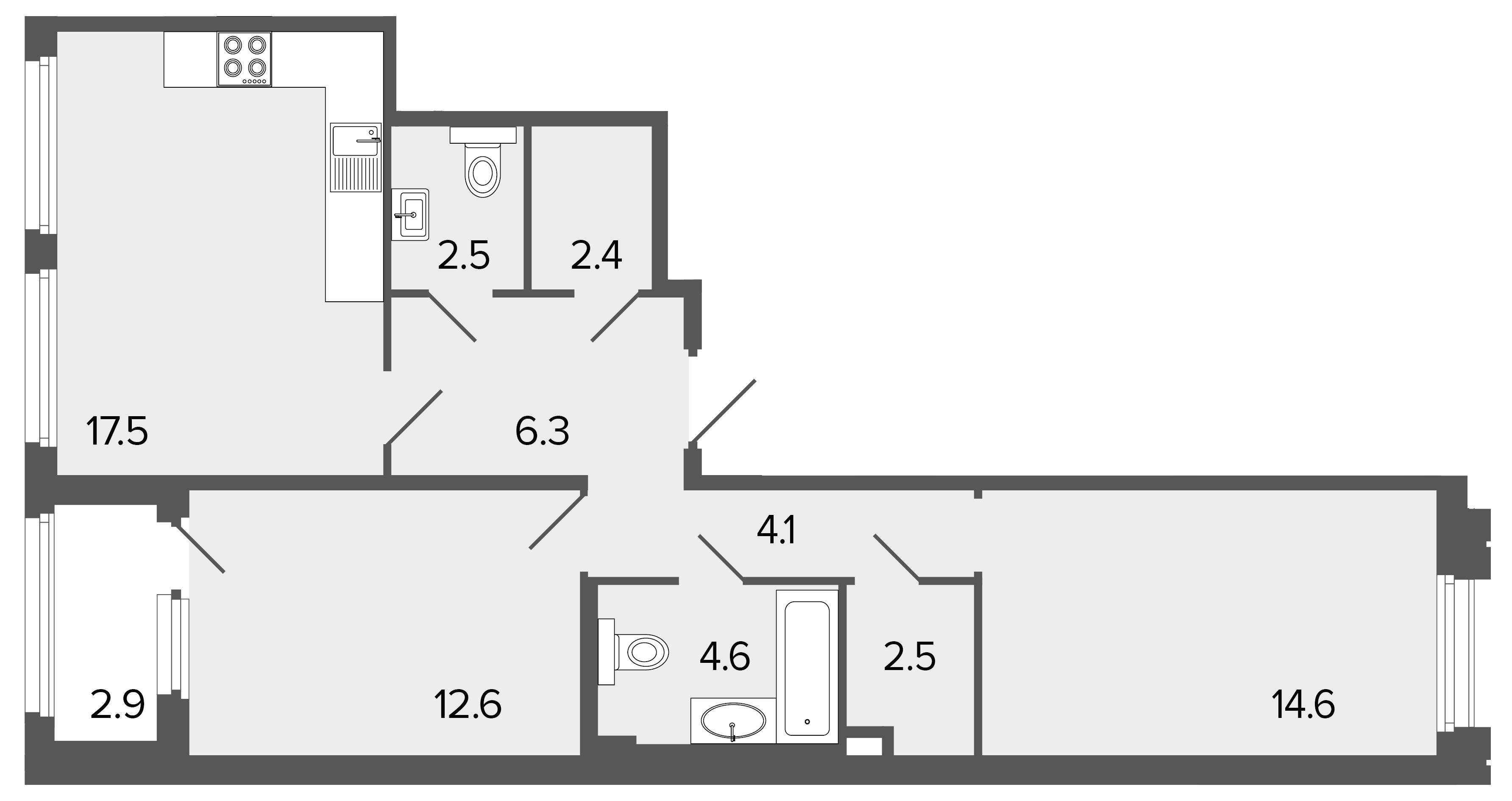 2-комнатная квартира №26 в: Созидатели: 67.1 м²; этаж: 2 - купить в Санкт-Петербурге