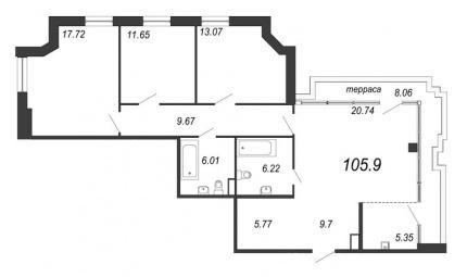 3-комнатная квартира, 108.32 м²; этаж: 11 - купить в Санкт-Петербурге