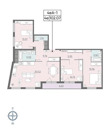 4-комнатная квартира №13 в: ЖК Морская набережная.SeaView: 102.07 м²; этаж: 13 - купить в Санкт-Петербурге