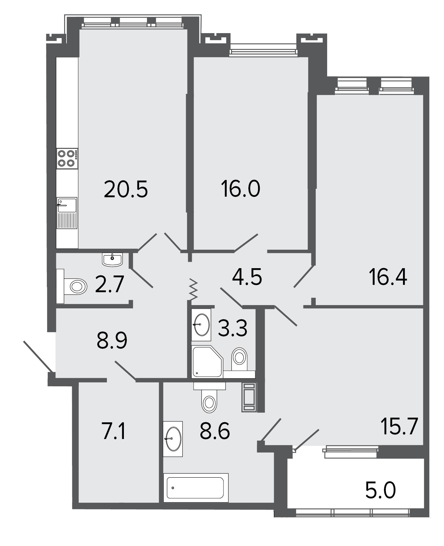 3-комнатная квартира, 103.7 м²; этаж: 3 - купить в Санкт-Петербурге